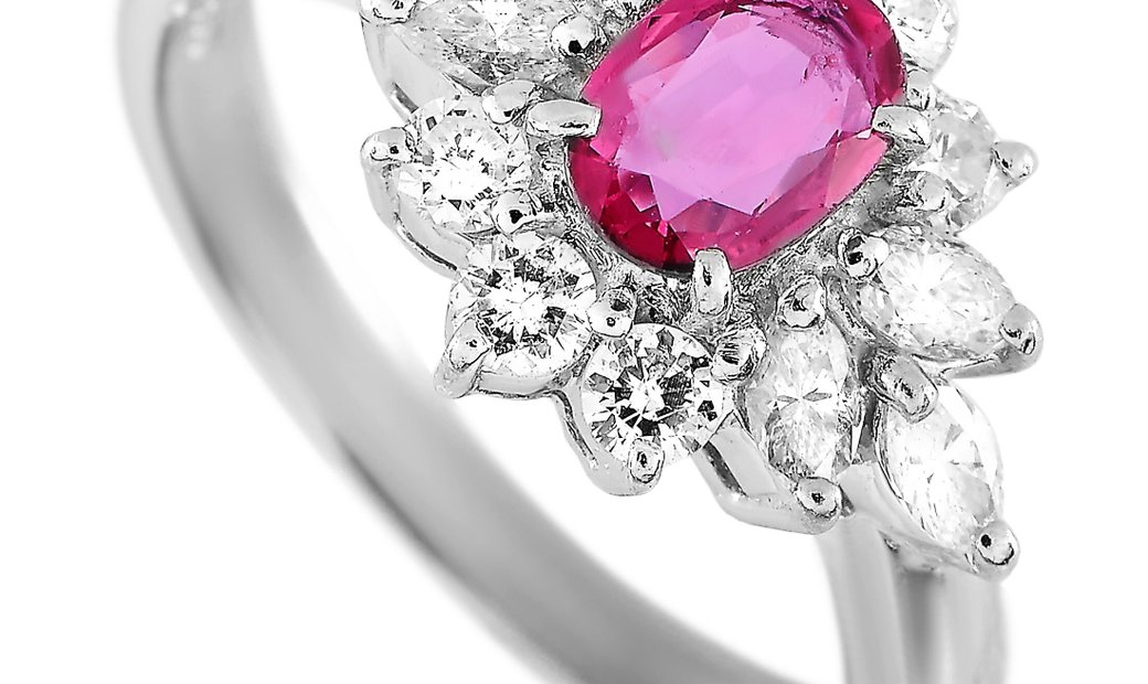 LB Exclusive LB Exclusive Platinum 0.70 ct Diamond and Ruby Ring