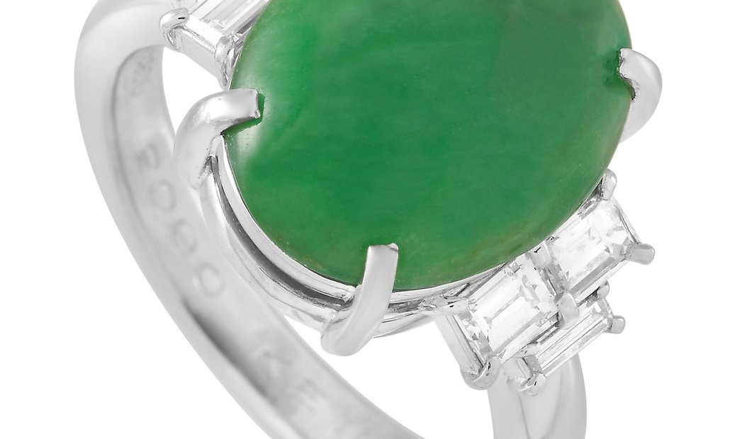 LB Exclusive LB Exclusive Platinum 0.65 ct Diamond and Jade Ring