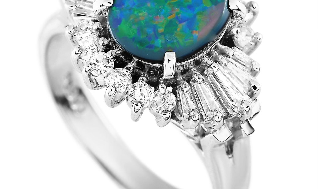 LB Exclusive LB Exclusive Platinum 0.38 ct Diamond and Opal Ring