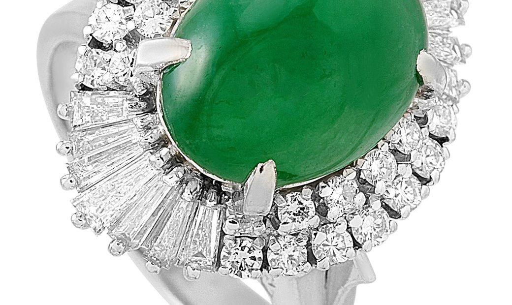 LB Exclusive LB Exclusive Platinum 1.27 ct Diamond and Jade Ring
