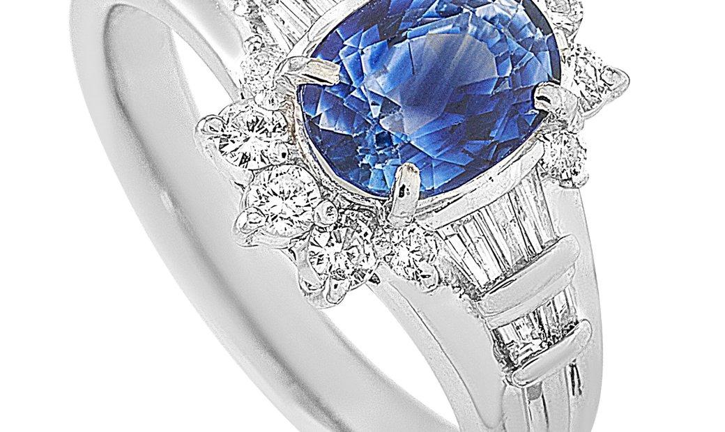 LB Exclusive LB Exclusive Platinum 0.50 ct Diamond and Sapphire Ring
