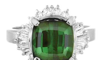 LB Exclusive LB Exclusive Platinum 0.68 ct Diamond and Tourmaline Ring