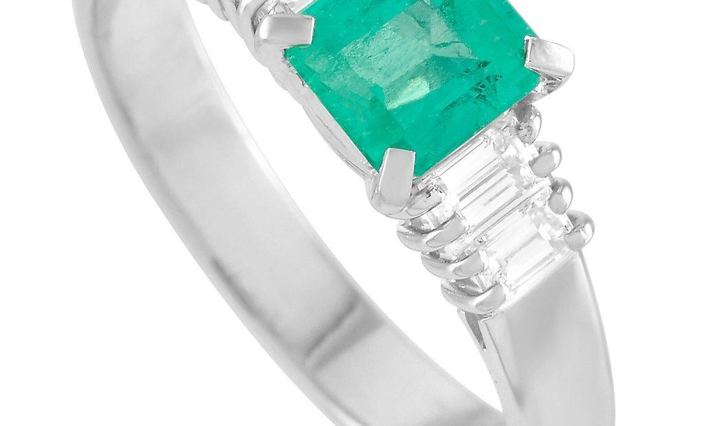 LB Exclusive LB Exclusive Platinum 0.32 ct Diamond and Emerald Ring