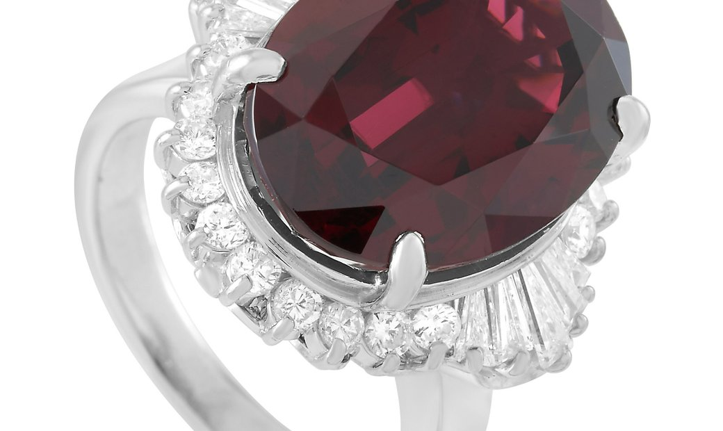 LB Exclusive LB Exclusive Platinum 1.03 ct Diamond and Garnet Ring