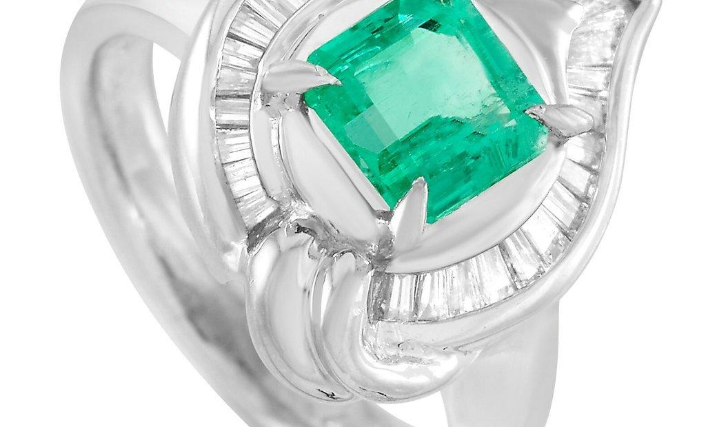 LB Exclusive LB Exclusive Platinum 0.45 ct Diamond and Emerald Ring