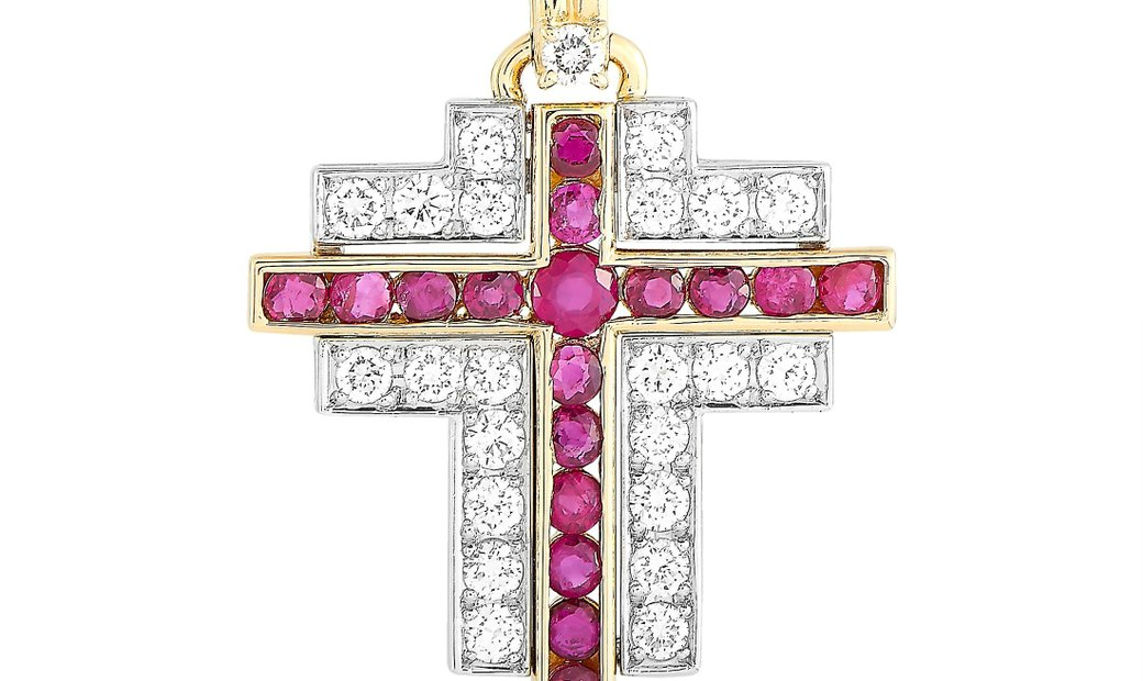 Non Branded Southern Cross 18K Yellow Gold 1.37 ct Diamond and Ruby Cross Pendant Necklace
