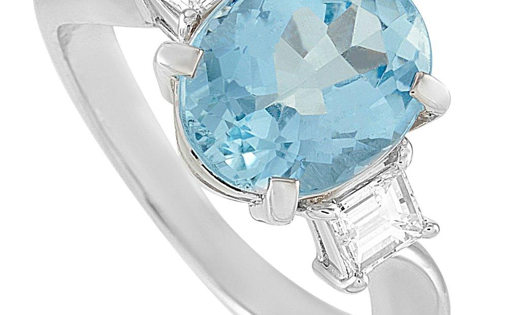LB Exclusive LB Exclusive Platinum 0.46 ct Diamond and Aquamarine Ring