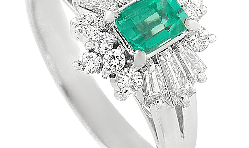 LB Exclusive LB Exclusive Platinum 0.57 ct Diamond and Emerald Ring