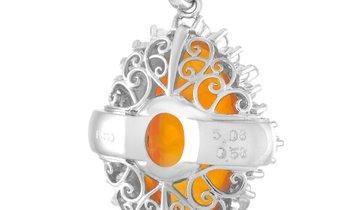 LB Exclusive LB Exclusive Platinum 0.58 ct Diamond and Opal Pendant