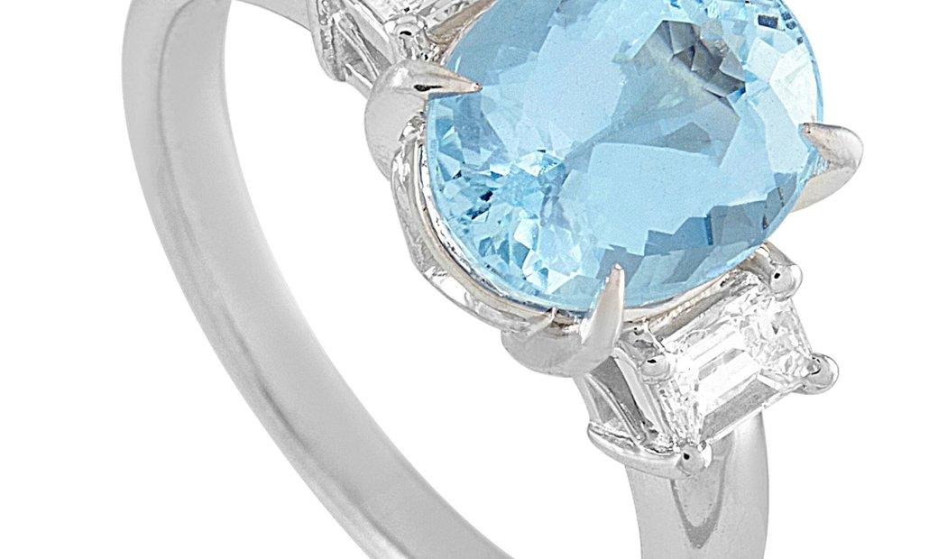 LB Exclusive LB Exclusive Platinum 0.33 ct Diamond and Aquamarine Ring
