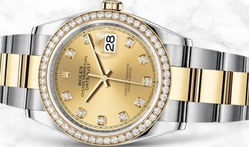 Rolex Datejust 36 126283RBR-0004 Oystersteel and Yellow Gold Diamond Set Champagne Coloured Dial
