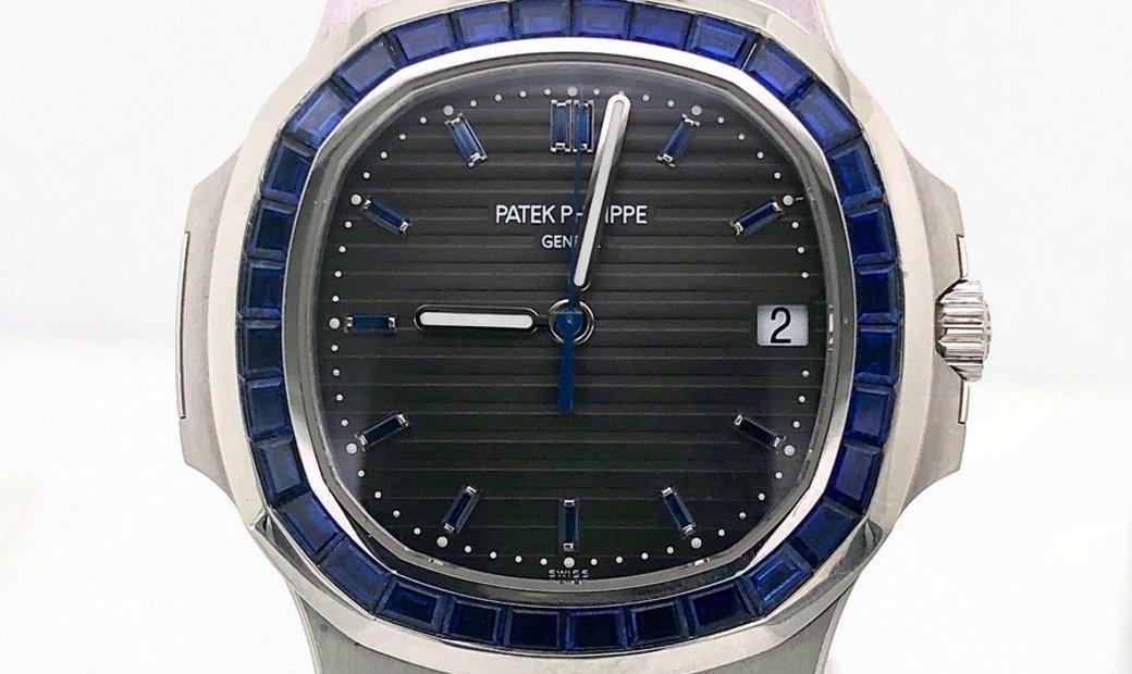 PATEK PHILIPPE NAUTILUS BLUE SAPPHIRE BEZEL PLATINUM LIMITED EDITION MEN'S WATCH Ref. 5711/111P-001