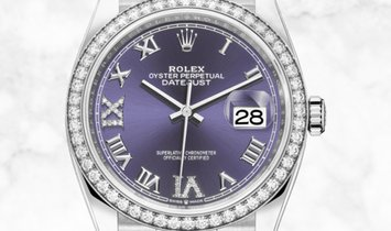 Rolex Datejust 36 126284RBR-0013 Oystersteel and White Gold Diamond Set Aubergine Dial