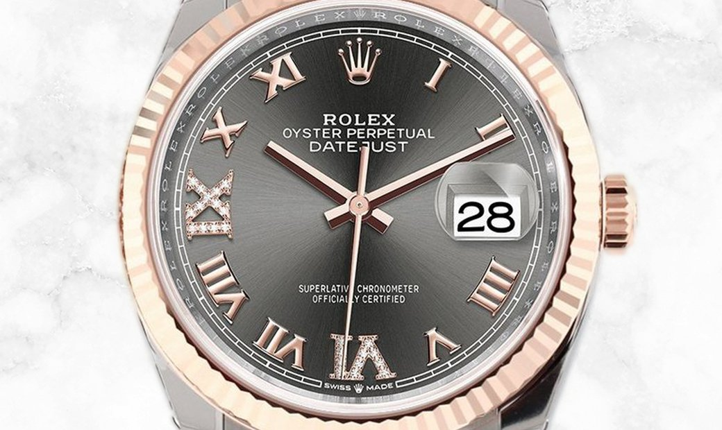 Rolex Datejust 36 126231-0023 Oystersteel and Everose Gold Diamond Set Slate Dial