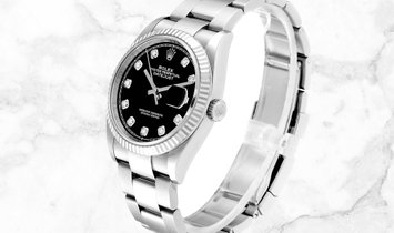 Rolex Datejust 36 126234-0028 White Rolesor Black Diamond Set Dial Oyster Bracelet