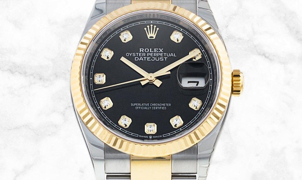 Rolex Datejust 36 126233-0022 Yellow Rolesor Black Dial Diamond Set Oyster Bracelet