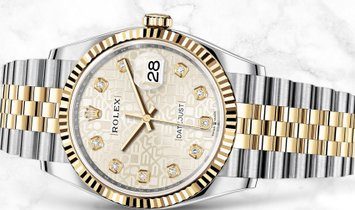 Rolex Datejust 36 126233-0027 Yellow Rolesor Diamond Set Silver Jubilee Dial Jubilee Bracelet