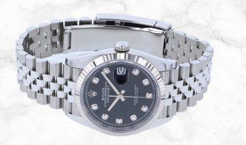 Rolex Datejust 36 126234-0027 White Rolesor Black Diamond Set Dial Jubilee Bracelet