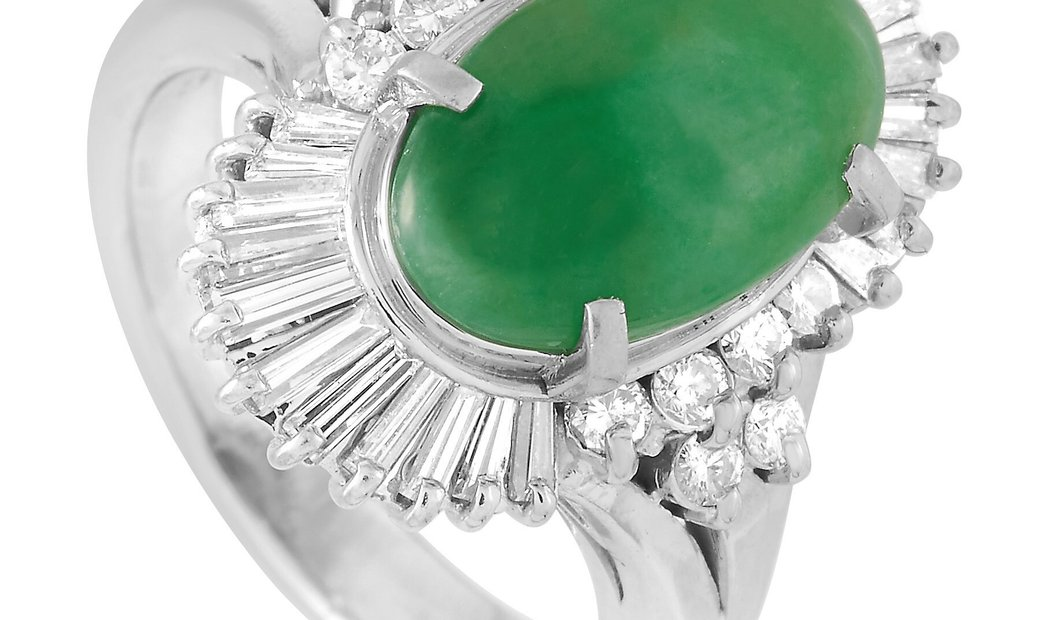 LB Exclusive LB Exclusive Platinum 0.73 ct Diamond and Jade Ring