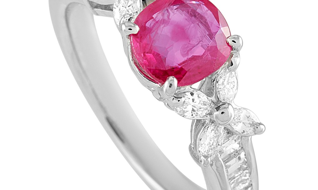 LB Exclusive LB Exclusive Platinum 0.56 ct Diamond and Ruby Ring