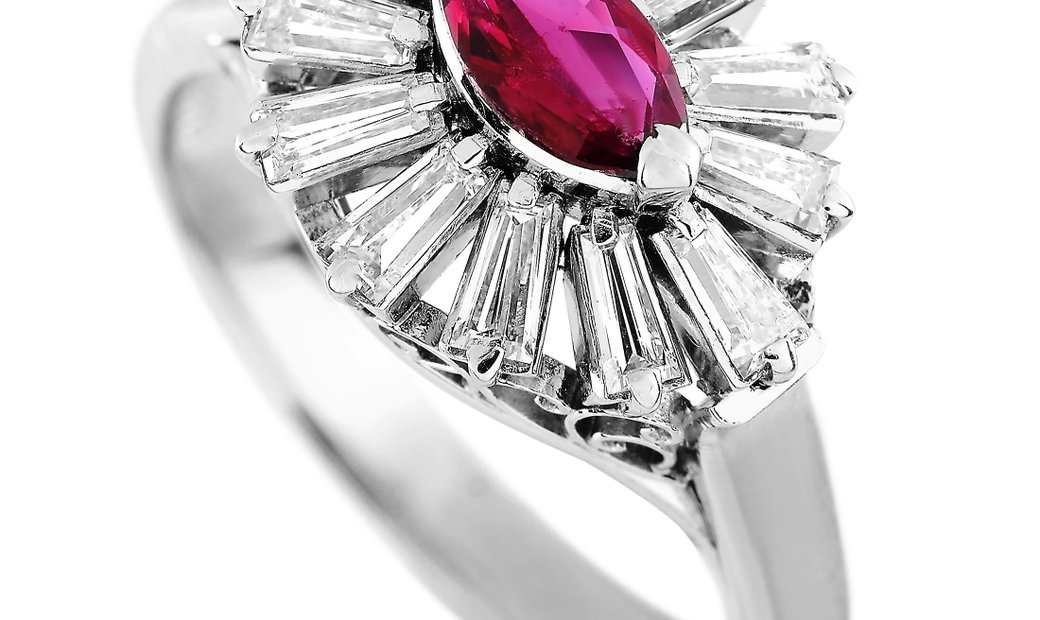LB Exclusive LB Exclusive Platinum 0.72 ct Diamond and Ruby Ring