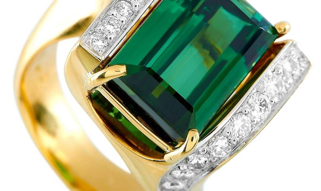 LB Exclusive LB Exclusive 18K Yellow Gold 0.40 ct Diamond and Tourmaline Ring