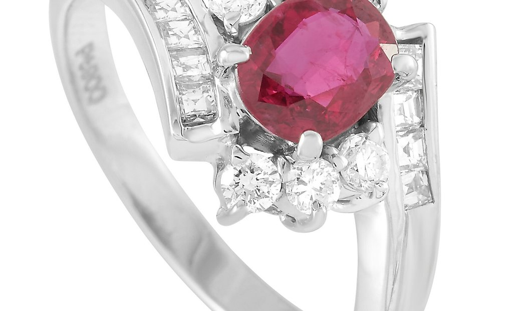 LB Exclusive LB Exclusive Platinum 0.57 ct Diamond and Ruby Ring