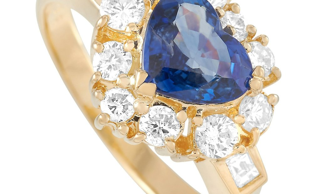 LB Exclusive LB Exclusive 18K Yellow Gold 1.06 ct Diamond and Sapphire Ring
