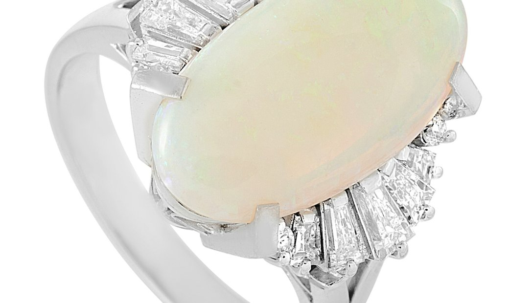 LB Exclusive LB Exclusive Platinum 0.91 ct Diamond and Opal Ring