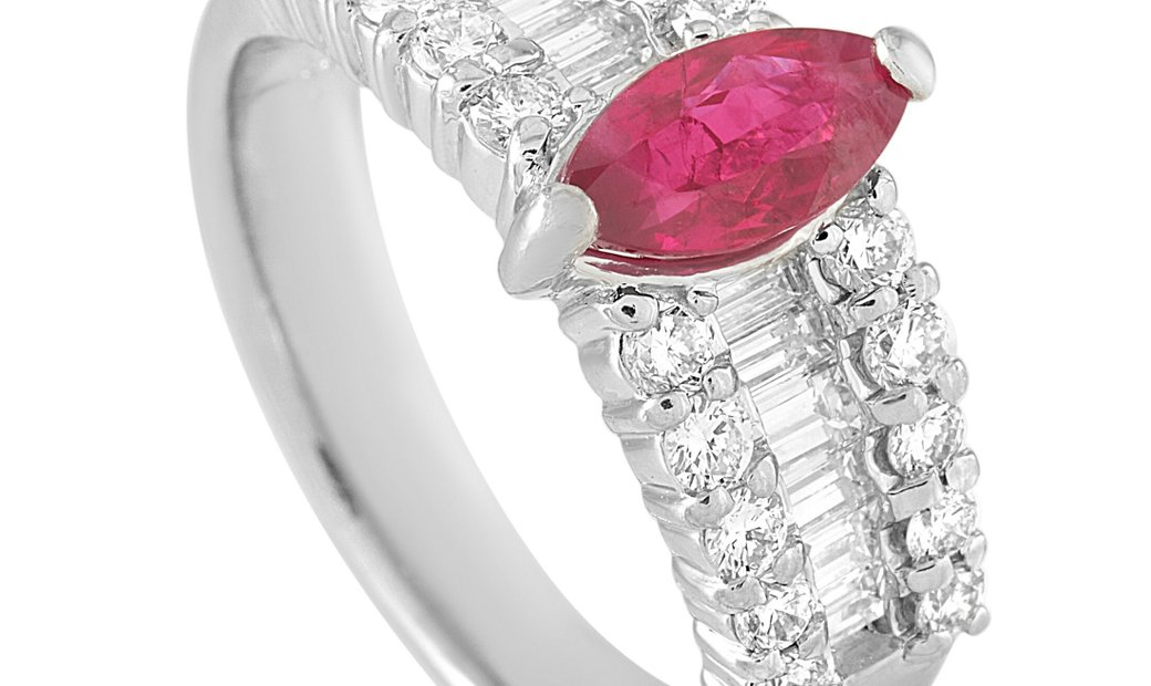 LB Exclusive LB Exclusive Platinum 1.22 ct Diamond and Ruby Ring