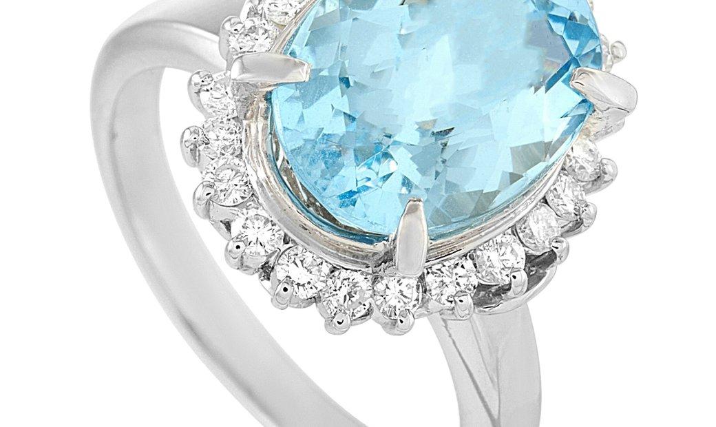 LB Exclusive LB Exclusive Platinum 0.51 ct Diamond and Aquamarine Ring