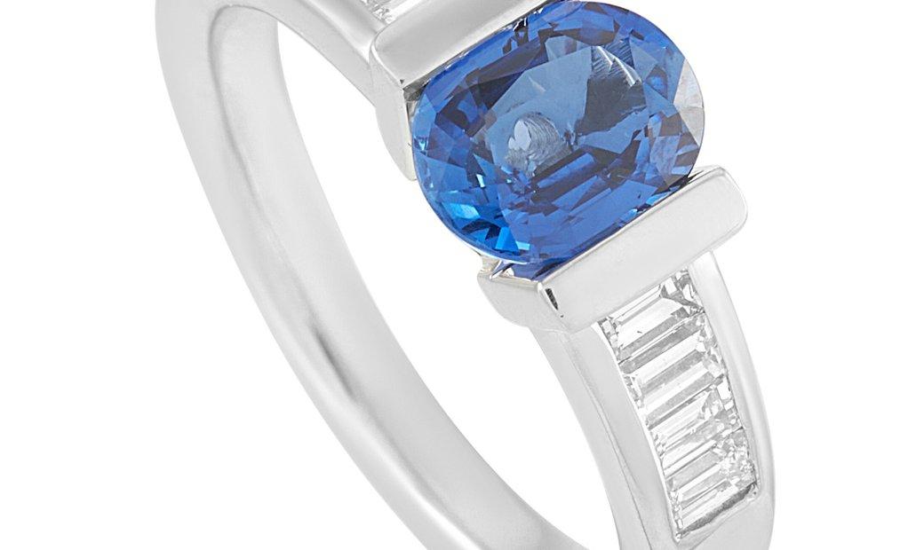 LB Exclusive LB Exclusive Platinum 0.46 ct Diamond and Sapphire Ring