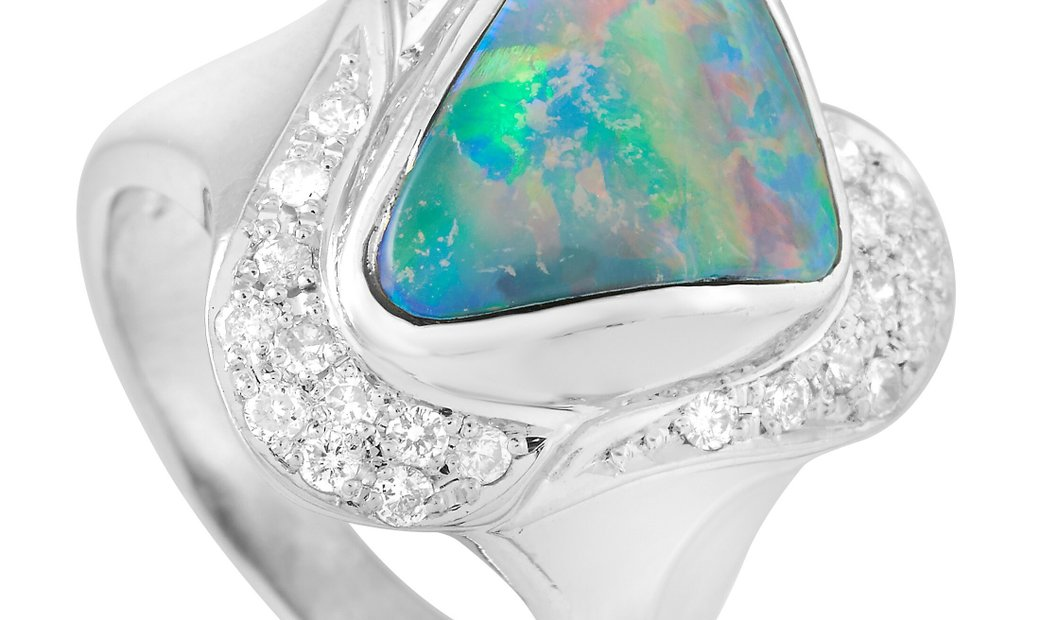 LB Exclusive LB Exclusive Platinum 0.40 ct Diamond and Opal Ring