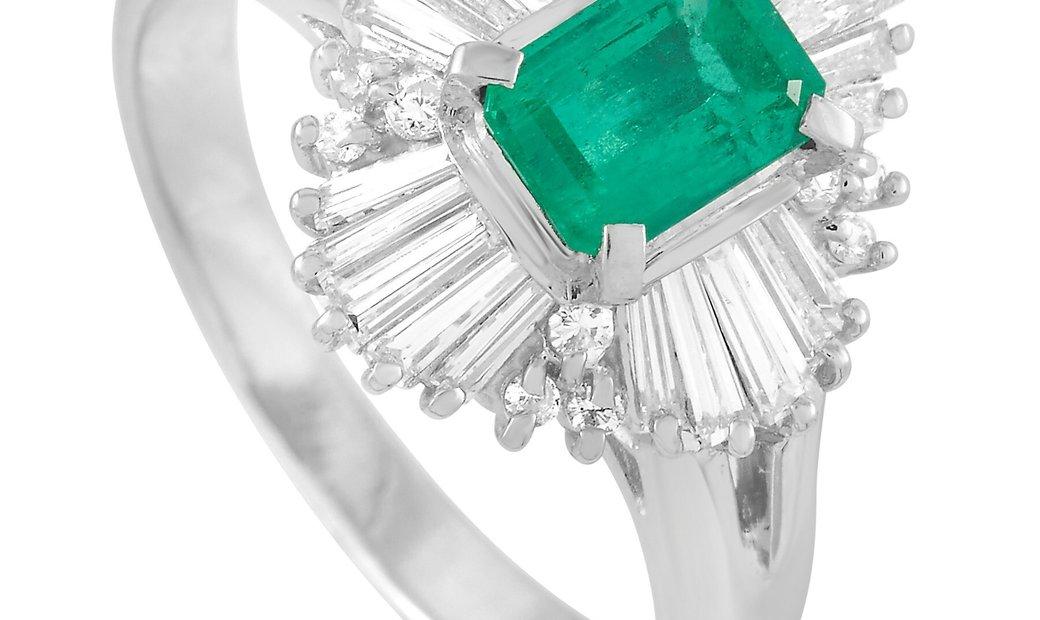 LB Exclusive LB Exclusive Platinum 0.63 ct Diamond and Emerald Ring