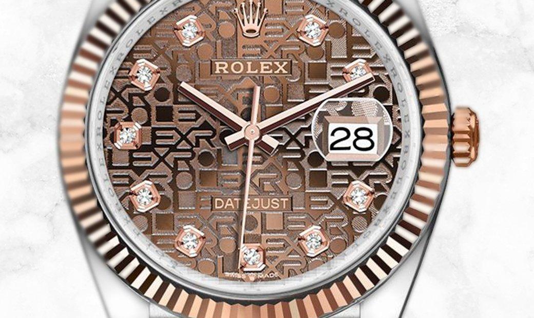 Rolex Datejust 36 126231-0025 Everose Rolesor Diamond Set Chocolate Jubilee Dial Jubilee Bracelet