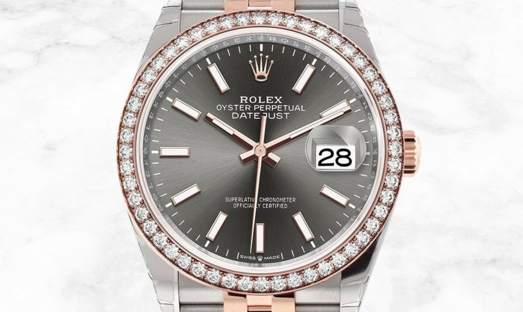 Rolex Datejust 36 126281RBR- 0001 Everose Rolesor Slate Dial Diamond Set Bezel Jubilee Bracelet