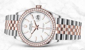 Rolex Datejust 36 126281RBR-0005 Everose Rolesor White Dial Diamond Bezel Jubilee Bracelet