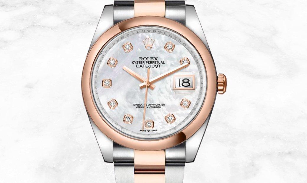 Rolex Datejust 36 126201-0022 Everose Rolesor Diamond Set White MOP Dial