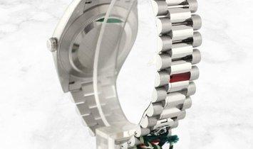 Rolex Day-Date 40 228396TBR-0026 Platinum Blue Dial Roman Numerals Diamond Bezel