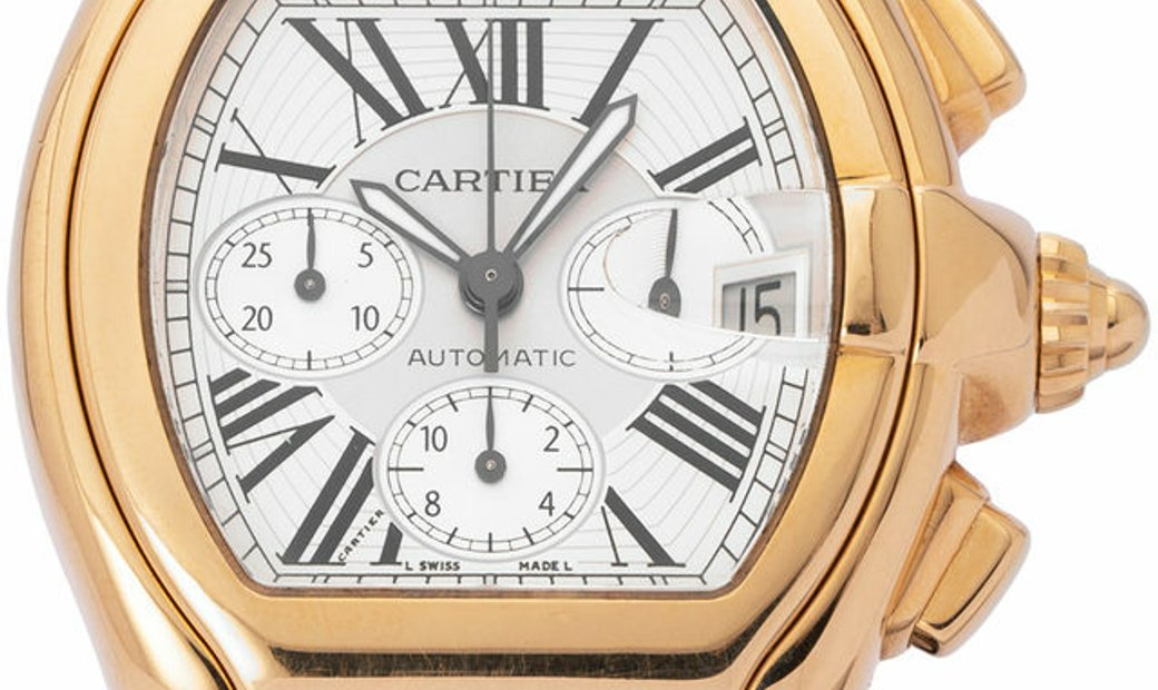 Cartier Roadster XL  2619, Roman Numerals, 2010, Very Good, Case material Yellow Gold,