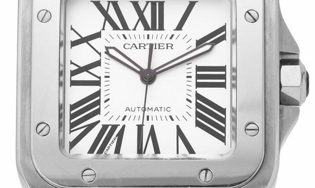 Cartier Santos 100 W20073X8 2656, Roman Numerals, 2004, Very Good, Case material Steel,