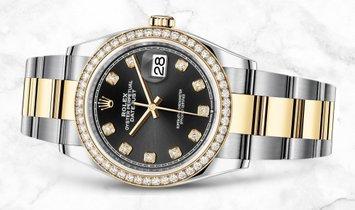 Rolex Datejust 36 126283RBR-0008 Yellow Rolesor Diamond Set Bezel and Black Dial Oyster Bracelet
