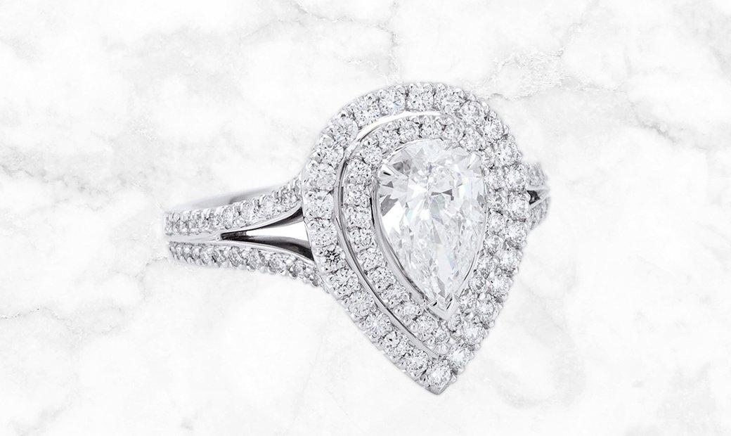 Platinum Double Vintage Pear Cut Diamond Ring with Split Shoulders