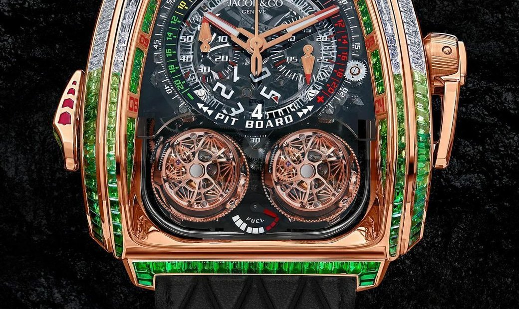 Jacob & Co. 捷克豹 [NEW MODEL] Twin Turbo Furious Green Bugatti Baguette Rose Gold Watch