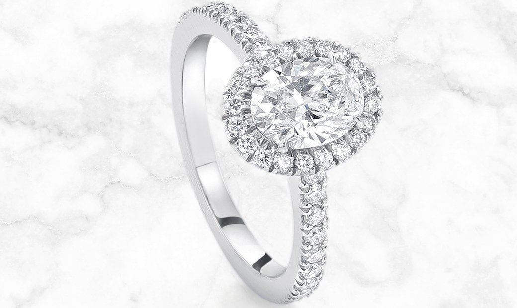 Platinum New Vintage Oval Diamond Ring