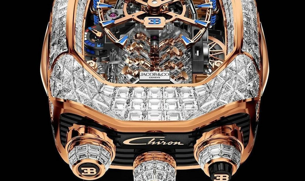 Jacob & Co. 捷克豹 [NEW MODEL] Bugatti Chiron Rose Gold Baguette 16 Cylinder Tourbillon