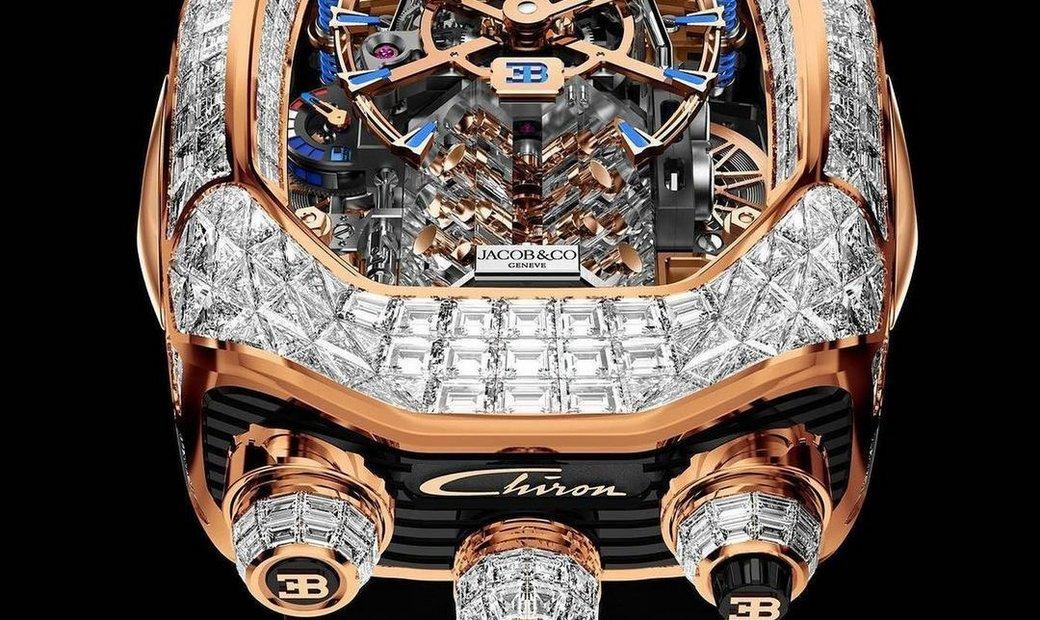 Jacob & Co. 捷克豹 [NEW] Bugatti Chiron Rose Gold Baguette 16 Cylinder Tourbillon BU800.40.BD.BD.A