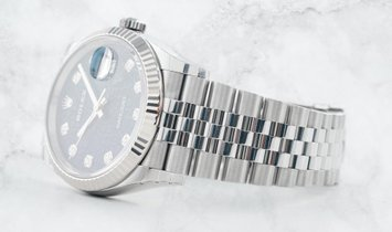 Rolex Datejust 36 126284RBR-0003 White Rolesor Diamond Set Bezel and Blue Jubilee Design Dial