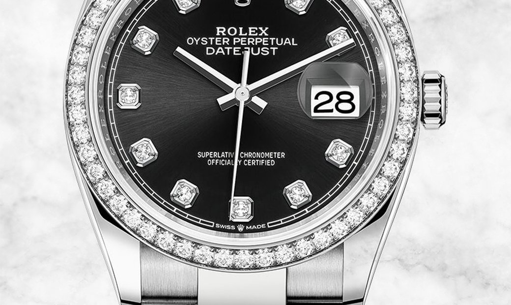 Rolex Datejust 36 126284RBR-0020 White Rolesor Diamond Set Bezel and Black Dial Oyster Bracelet