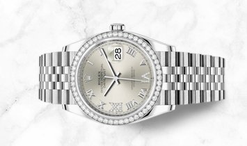 Rolex Datejust 36 126284RBR-0021  White Rolesor Diamond Set Silver Dial and Bezel Jubilee Bracelet